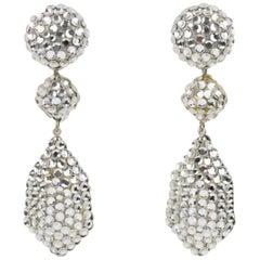 Richard Kerr Dangle Silver Crystal Clip Earrings