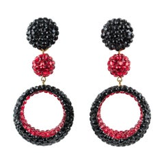 Richard Kerr Dangling Clip on Earrings Black and Red Rhinestones Paved