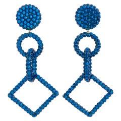 Richard Kerr Dangle Blue Crystal Clip Earrings