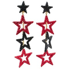 Richard Kerr  Dangling Star Clip on Earrings Black and Red Rhinestones Paved