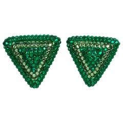 Richard Kerr Green Crystal Triangle Clip Earrings