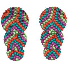Richard Kerr Multicolor Dangle Disk Jeweled Clip Earrings