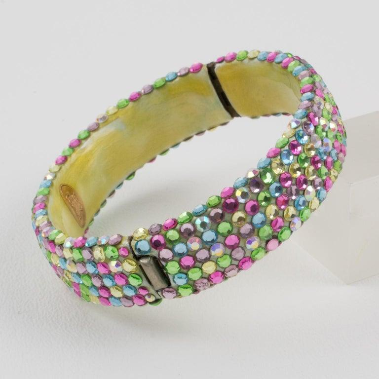 Richard Kerr Multicolor Pastel Jeweled Clamper Bracelet In Excellent Condition For Sale In Atlanta, GA