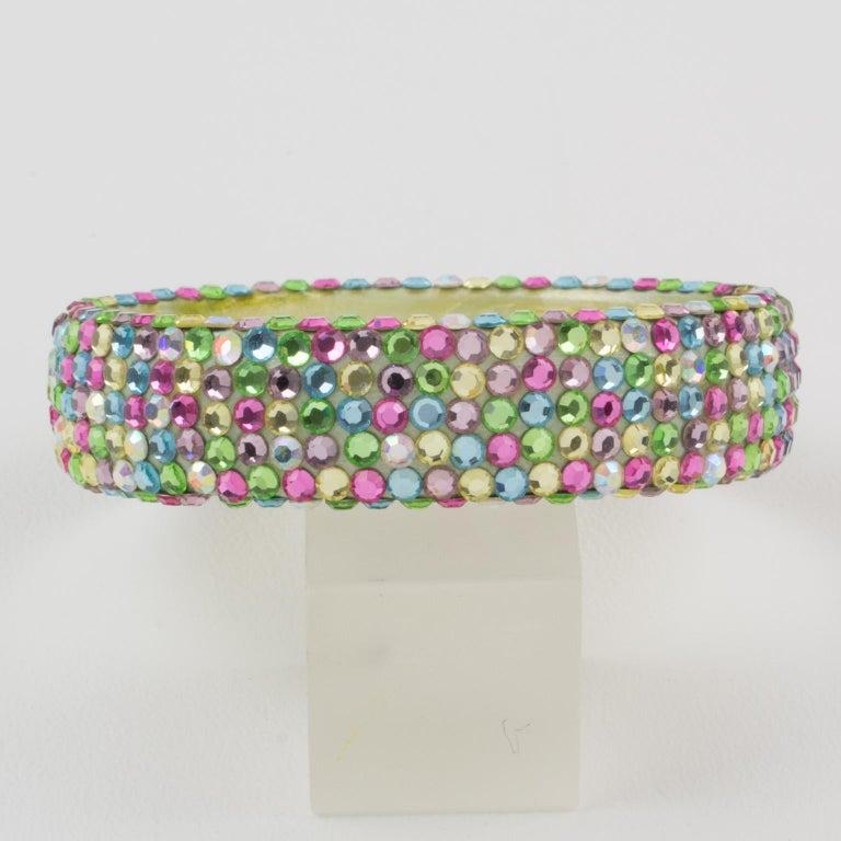 Women's or Men's Richard Kerr Multicolor Pastel Jeweled Clamper Bracelet For Sale