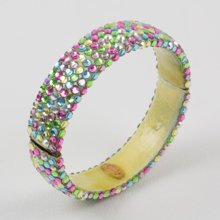 Richard Kerr Multicolor Pastel Jeweled Clamper Bracelet For Sale 1