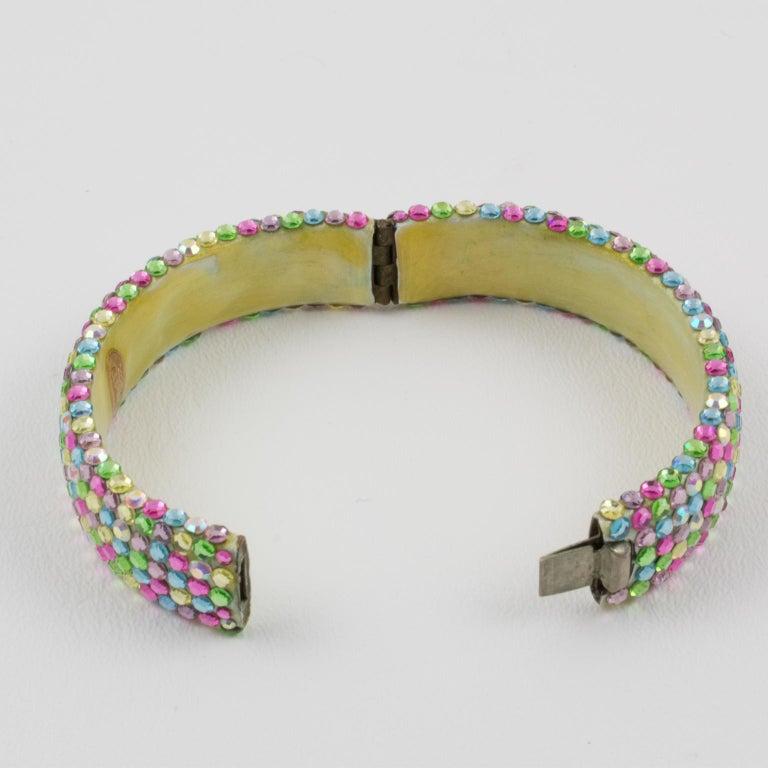 Richard Kerr Multicolor Pastel Jeweled Clamper Bracelet For Sale 3