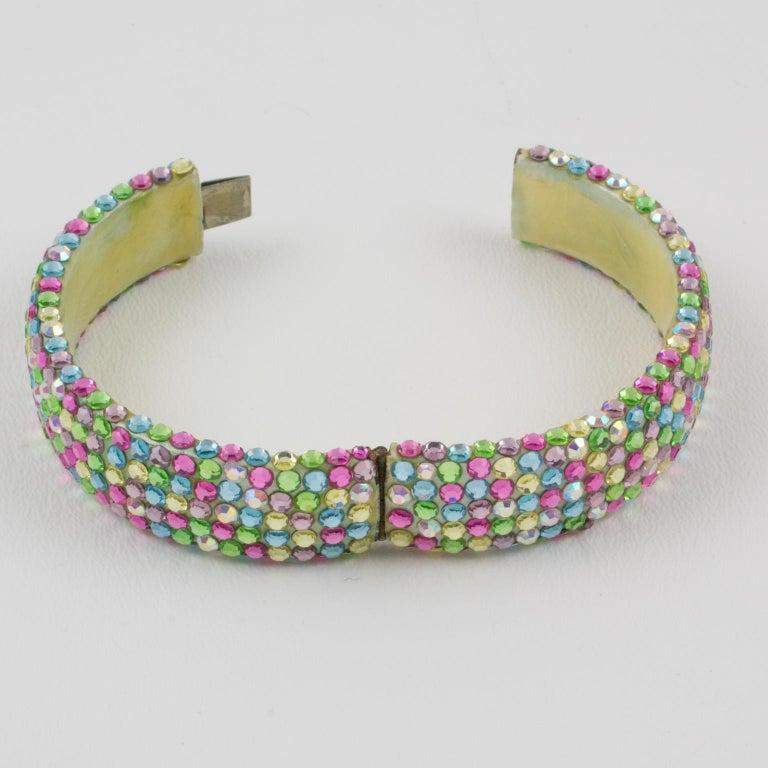 Richard Kerr Multicolor Pastel Jeweled Clamper Bracelet For Sale 4