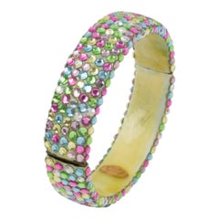 Richard Kerr Multicolor Pastel Jeweled Clamper Bracelet