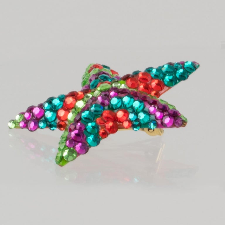 Richard Kerr Multicolor Star Jeweled Clip Earrings For Sale 2