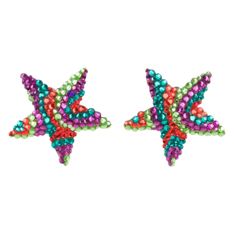 Richard Kerr Multicolor Star Jeweled Clip Earrings For Sale