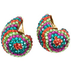 Richard Kerr Nautilus Shaped Multicolor Crystal Paved Clip Earrings