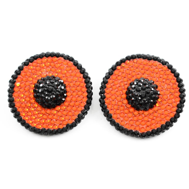 Richard Kerr Orange and Black Crystal Clip Earrings In Excellent Condition For Sale In Atlanta, GA
