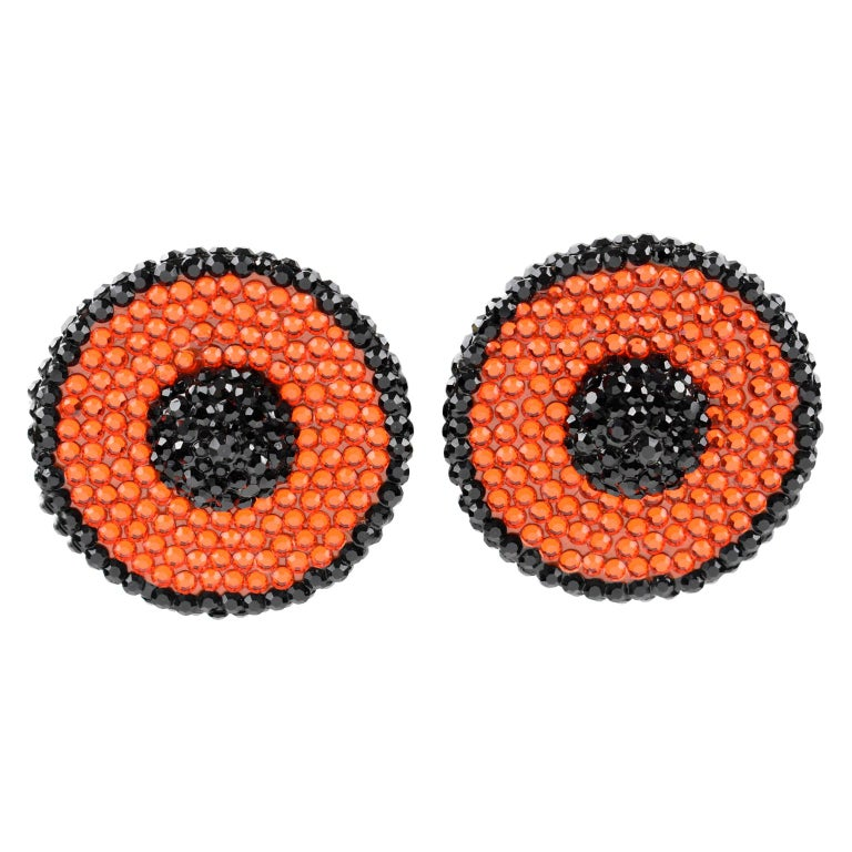 Richard Kerr Orange and Black Crystal Clip Earrings For Sale