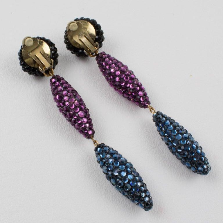 Women's or Men's Richard Kerr Oversized Dangle Jeweled Clip Earrings For Sale