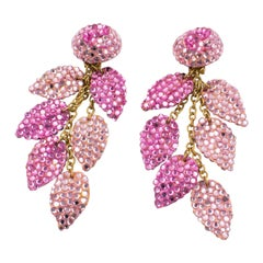 Richard Kerr Oversized Dangle Pink Jeweled Clip Earrings