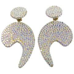 Richard Kerr Oversized Jeweled Dangle Clip Earrings
