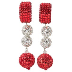 Richard Kerr Oversized Red and Silver Jeweled Clip Earrings