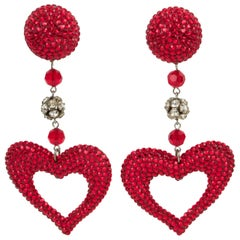Richard Kerr Oversized Red and Silver Jeweled Heart Clip Earrings