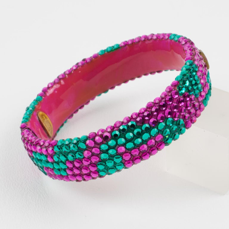 Richard Kerr Pink Turquoise Jeweled Clamper Bracelet In Excellent Condition For Sale In Atlanta, GA