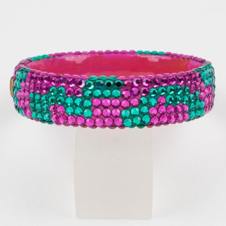 Women's or Men's Richard Kerr Pink Turquoise Jeweled Clamper Bracelet For Sale