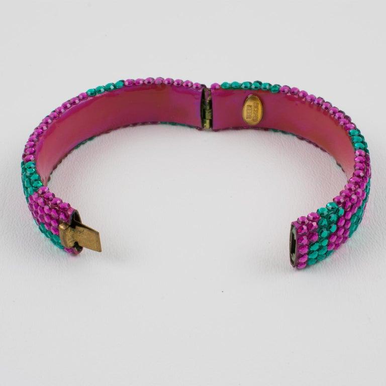 Richard Kerr Pink Turquoise Jeweled Clamper Bracelet For Sale 1
