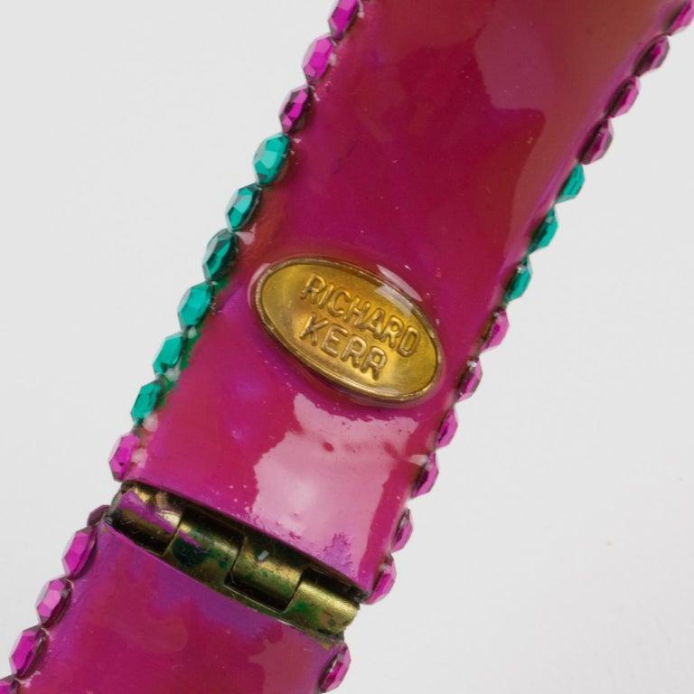 Richard Kerr Pink Turquoise Jeweled Clamper Bracelet For Sale 2