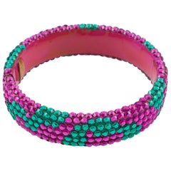 Richard Kerr Pink Turquoise Jeweled Clamper Bracelet