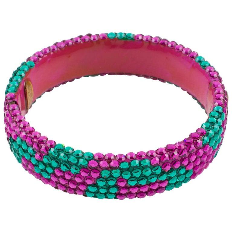 Richard Kerr Pink Turquoise Jeweled Clamper Bracelet For Sale