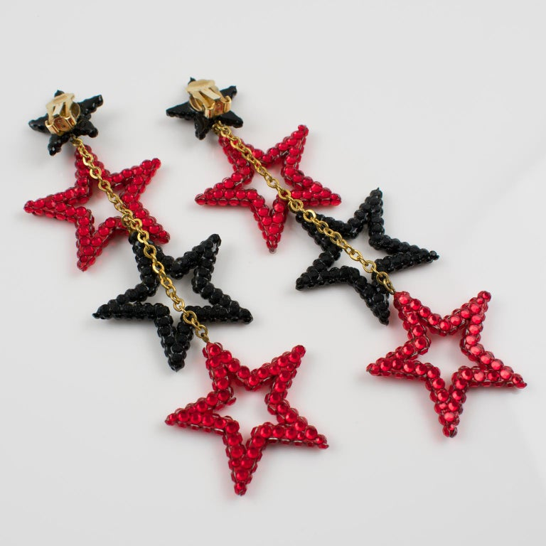 Women's or Men's Richard Kerr Red Black Jeweled Star Clip Earrings For Sale
