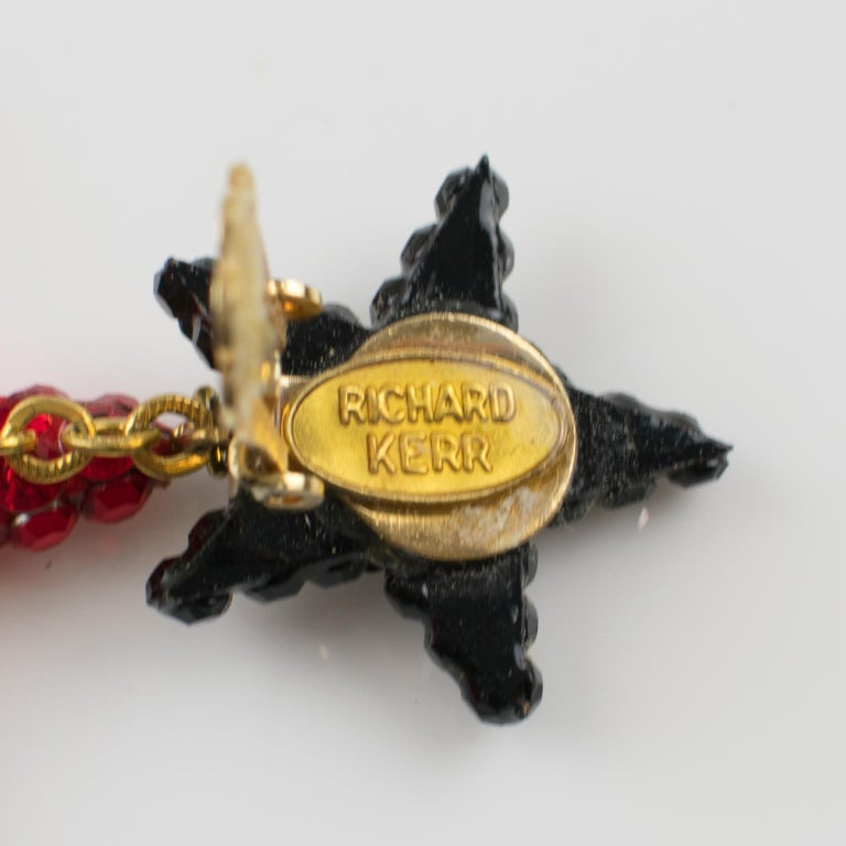 Richard Kerr Red Black Jeweled Star Clip Earrings For Sale 1