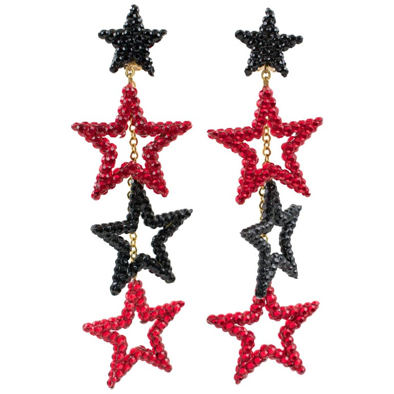 Richard Kerr Red Black Jeweled Star Clip Earrings For Sale