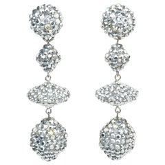 Richard Kerr Silver Pave Crystal Dangle Earrings