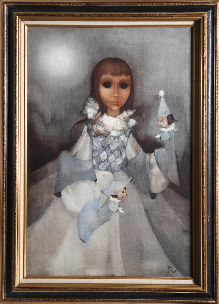 Artist: Richard Kirk, American XXth Title: Surreal Portrait Year: circa 1960 Medium: Oil on Canvas, signed Size: 36 x 24 in. (91.44 x 60.96 cm) Frame: 44 x 30 inches