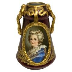 Richard Klemm Dresden Miniature Porcelain Portrait Cabinet Vase of Antoinette