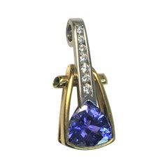 Richard Krementz 18K Platinum Tanzanite Tsavorite Diamond Pendant