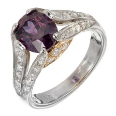 Richard Krementz 2.64 Carat Garnet Diamond Platinum Gold Engagement Ring