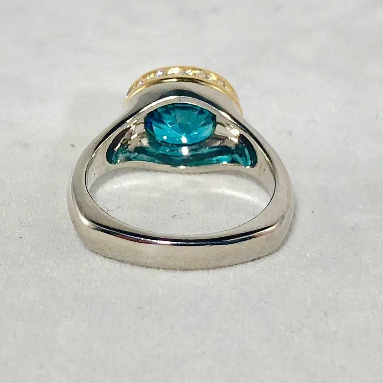 Richard Krementz Gemstones Platinum/18 Karat 5.4 Carat Blue Zircon Diamond Ring For Sale 5