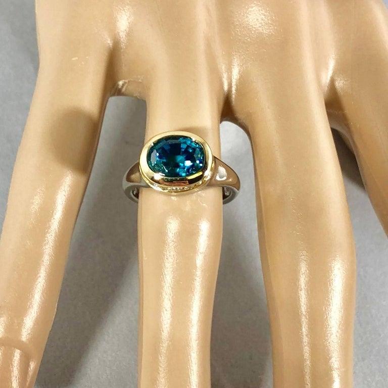 Richard Krementz Gemstones Platinum/18 Karat 5.4 Carat Blue Zircon Diamond Ring For Sale 6