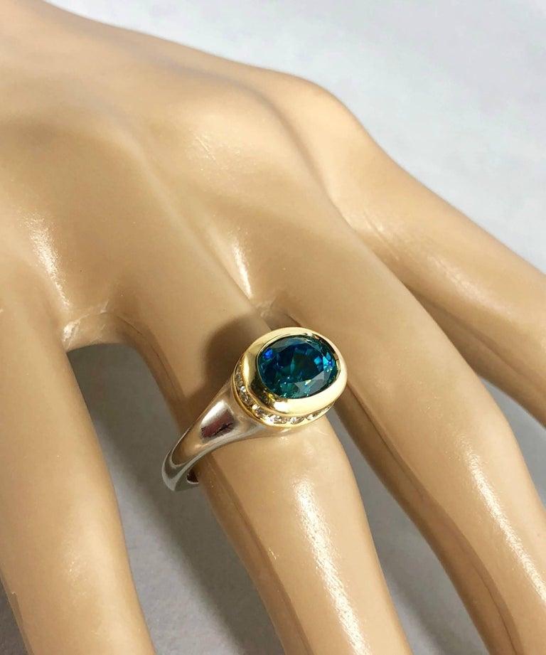 Richard Krementz Gemstones Platinum/18 Karat 5.4 Carat Blue Zircon Diamond Ring For Sale 8