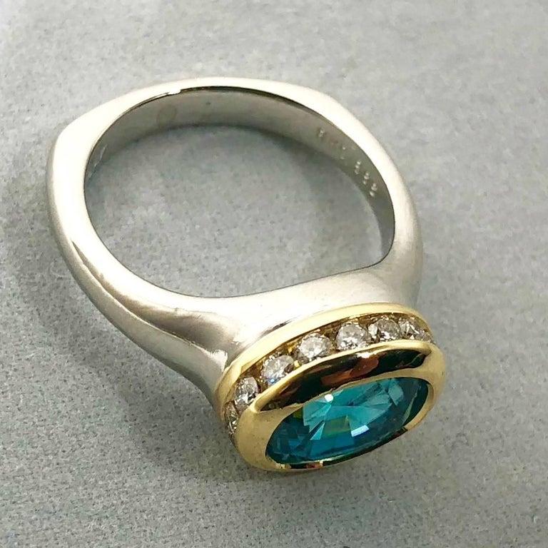 Oval Cut Richard Krementz Gemstones Platinum/18 Karat 5.4 Carat Blue Zircon Diamond Ring For Sale