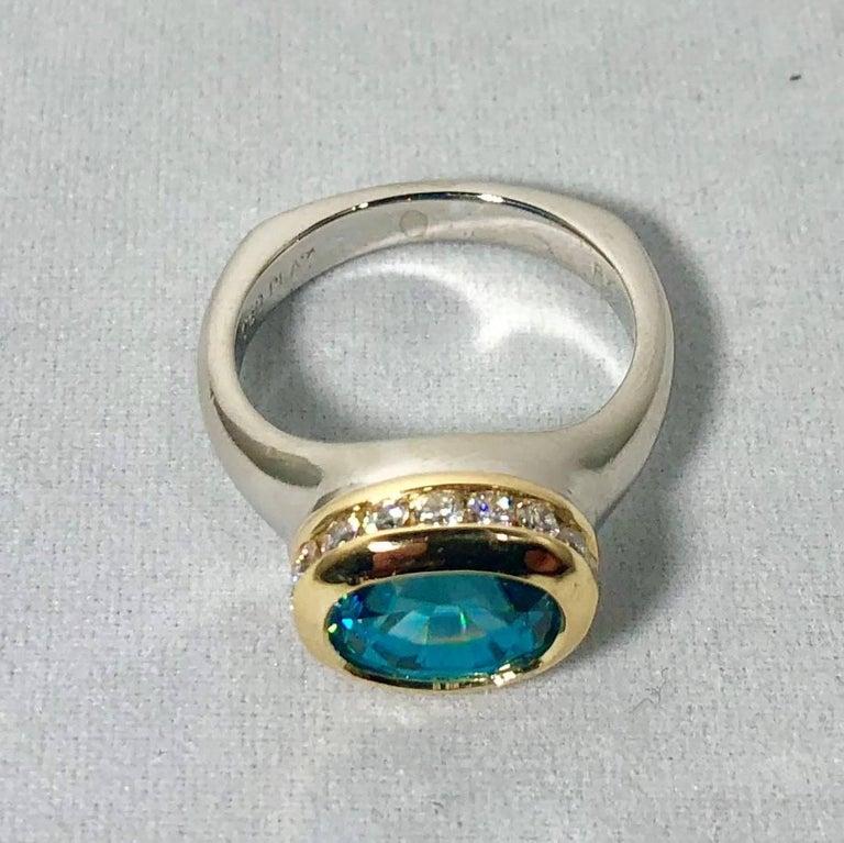 Richard Krementz Gemstones Platinum/18 Karat 5.4 Carat Blue Zircon Diamond Ring In Excellent Condition For Sale In Mansfield, OH