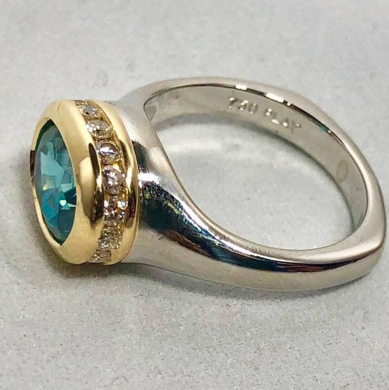 Women's Richard Krementz Gemstones Platinum/18 Karat 5.4 Carat Blue Zircon Diamond Ring For Sale