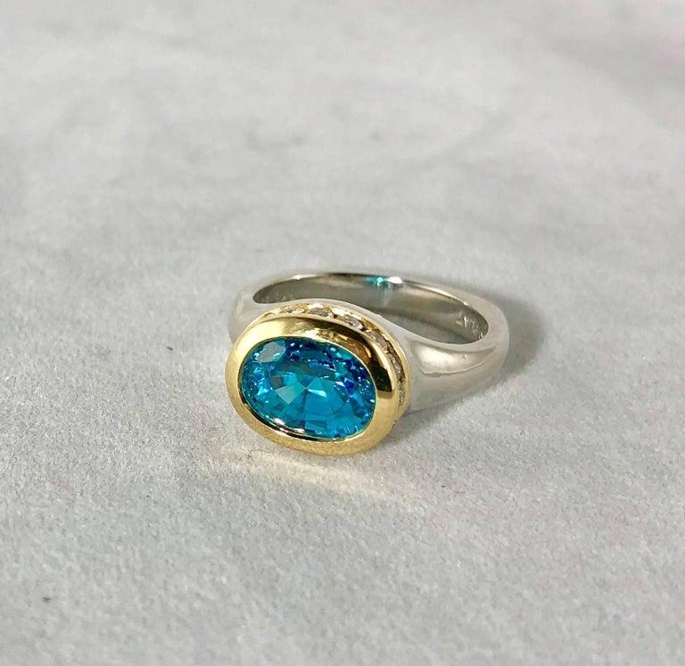 Richard Krementz Gemstones Platinum/18 Karat 5.4 Carat Blue Zircon Diamond Ring For Sale 2