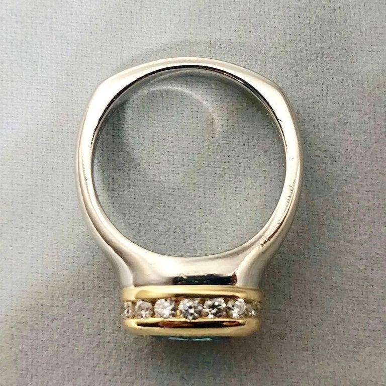 Richard Krementz Gemstones Platinum/18 Karat 5.4 Carat Blue Zircon Diamond Ring For Sale 3