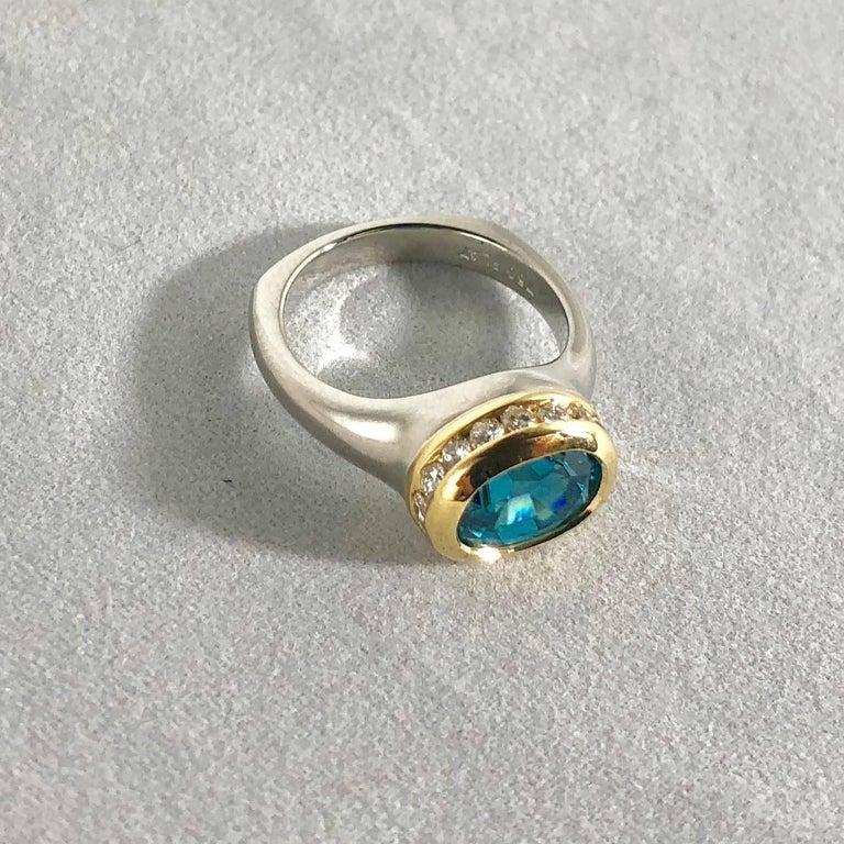 Richard Krementz Gemstones Platinum/18 Karat 5.4 Carat Blue Zircon Diamond Ring For Sale 4