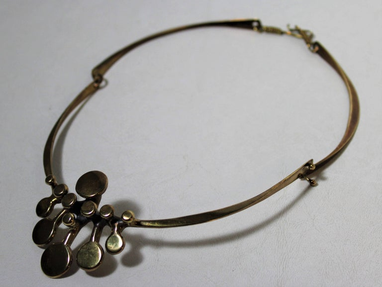American Richard Lawless Bronze Brutalist Necklace For Sale