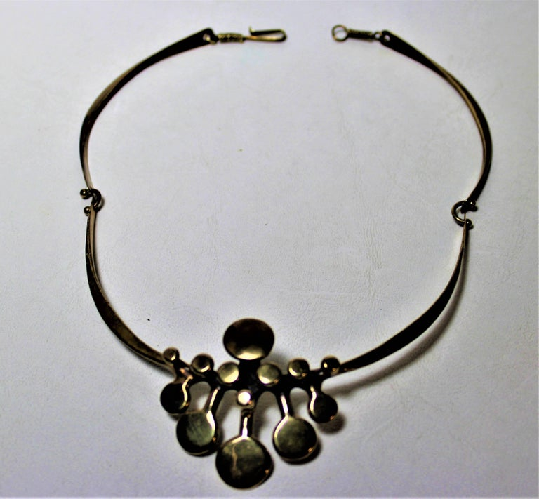 Late 20th Century Richard Lawless Bronze Brutalist Necklace For Sale