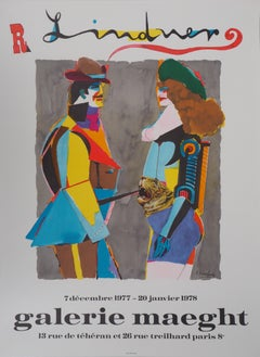 Lovers with a Tiger - Lithograph, Maeght 1977