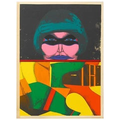 Masked Woman Signed Lithograph
