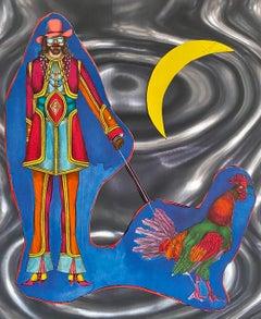 Modernist Lithograph and Collage on Rowlux Pop Art Mod Figure Richard Lindner